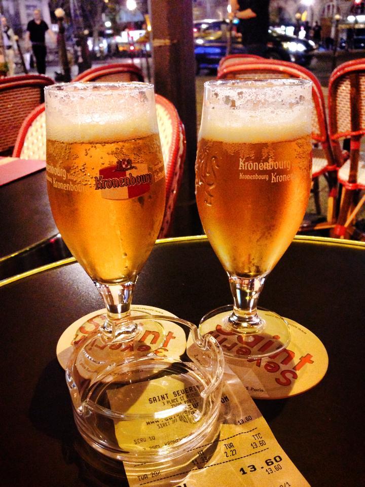 Enjoying a pint of beer at the Saint Severin Restaurant